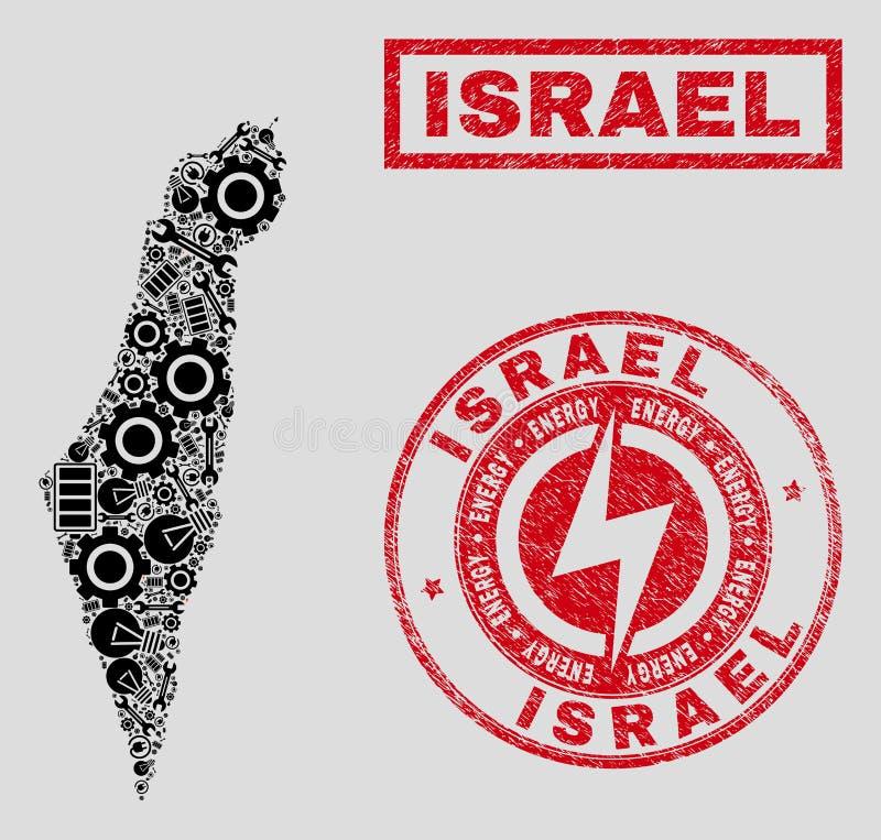 Elektriska mosaiska Israel Map och snöflingor och skrapade skyddsremsor stock illustrationer