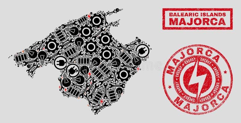 Elektriska mosaiska Majorca översikt och snöflingor och texturerade stämpelskyddsremsor stock illustrationer
