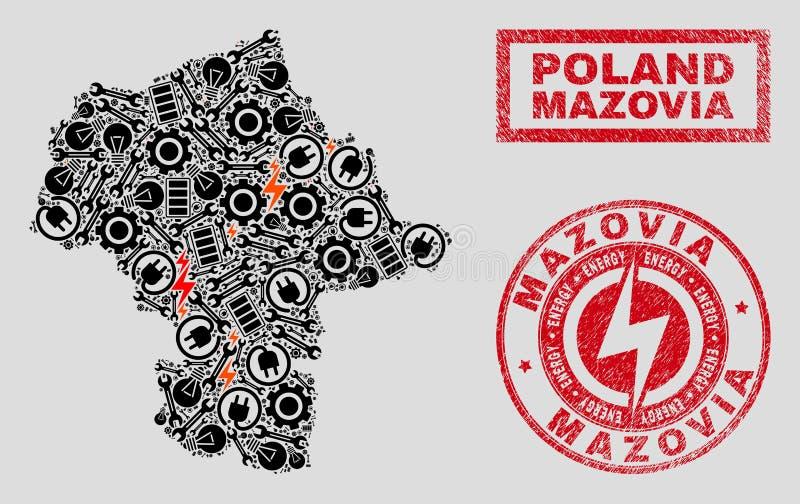 Elektriska mosaiska Mazovia landskapöversikt och snö och Grungeskyddsremsor vektor illustrationer