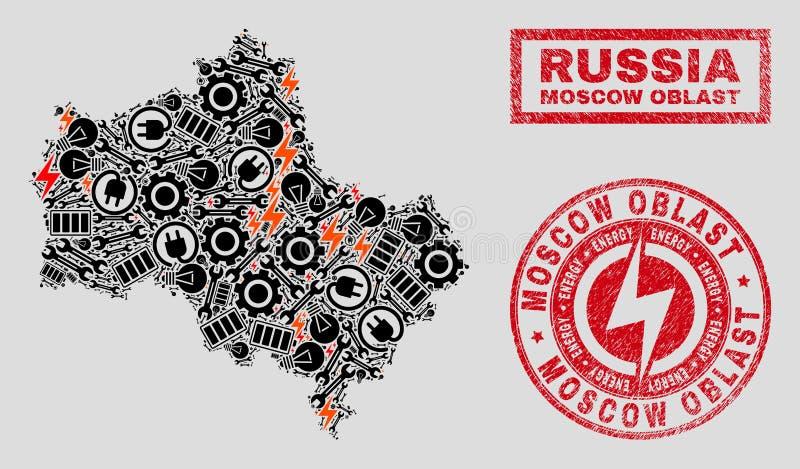 Elektriska mosaiska Moskvaregionöversikt och snöflingor och texturerade stämpelskyddsremsor stock illustrationer