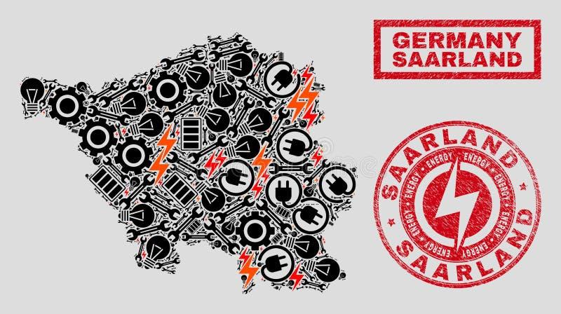 Elektriska mosaiska Saarland landöversikt och snöflingor och skrapade skyddsremsor vektor illustrationer