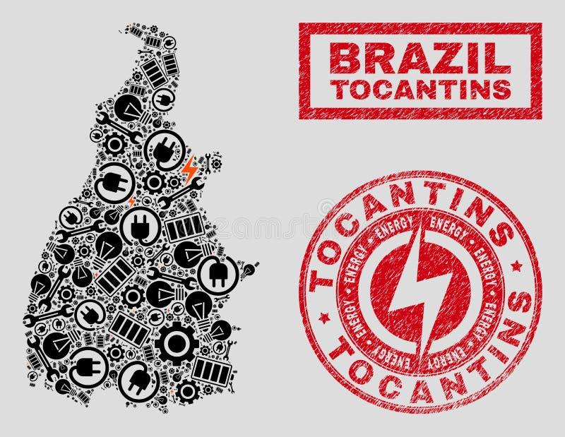 Elektriska mosaiska Tocantins tillståndsöversikt och snö och Grungestämpelskyddsremsor vektor illustrationer