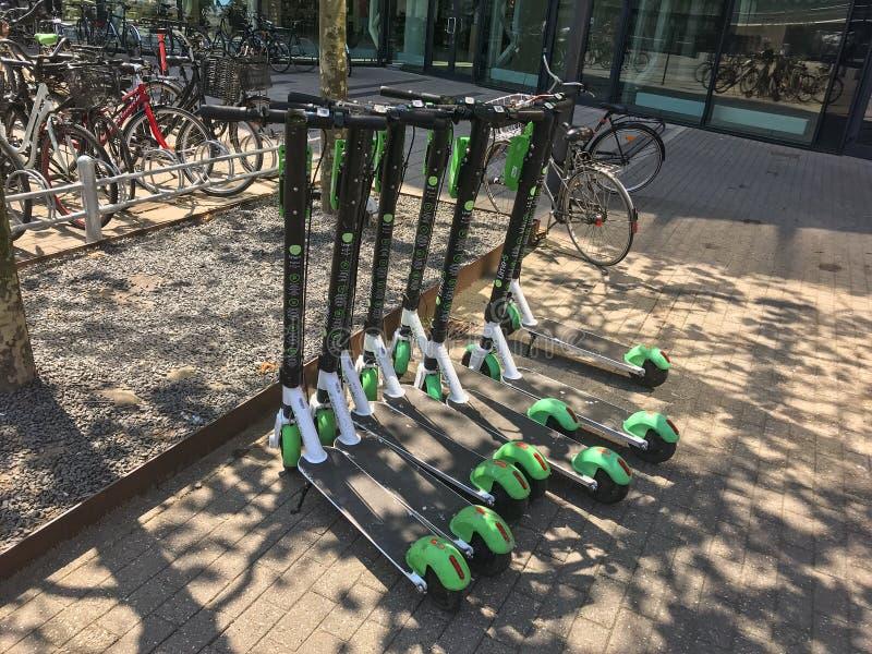 Elektriska sparkcyklar för hyra som i rad parkeras framme av en galleria med cyklar i bakgrund E-sparkcyklar är populärt hjälpmed royaltyfri fotografi