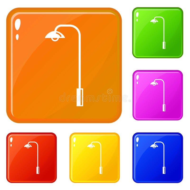 Elektriska tornsymboler ställde in vektorfärg stock illustrationer