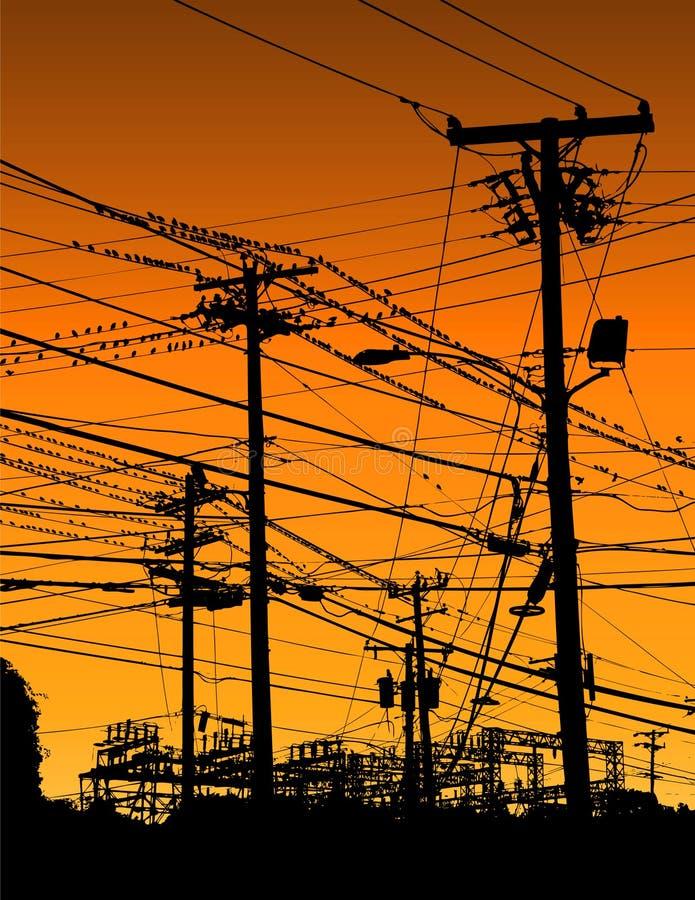 elektriska trådar stock illustrationer