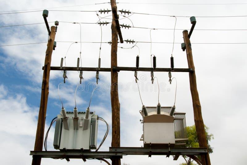 Elektriska transformatorer royaltyfria bilder