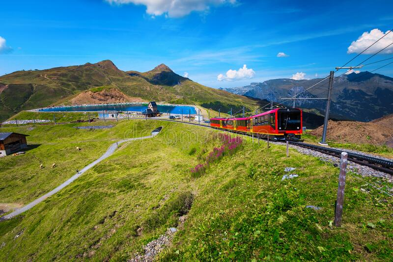 Elektriska turisttåg och bergsjö i bakgrunden, Grindelwald, Schweiz royaltyfri foto
