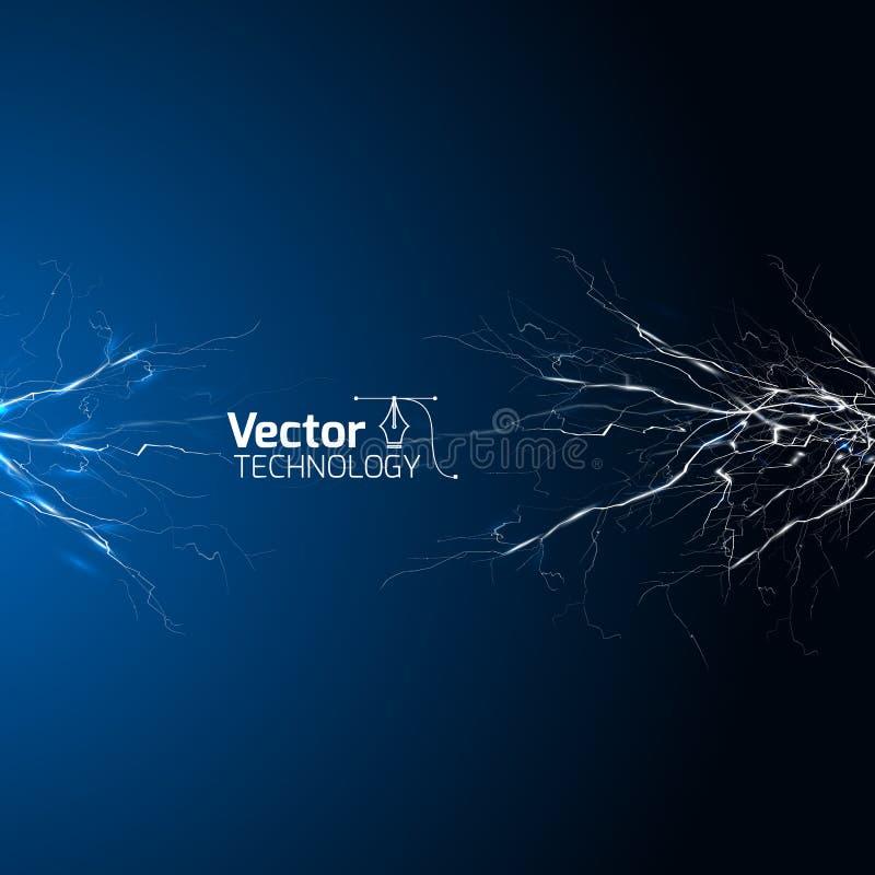 Elektriska vitblåttblixtar över mörk bakgrund vektor illustrationer