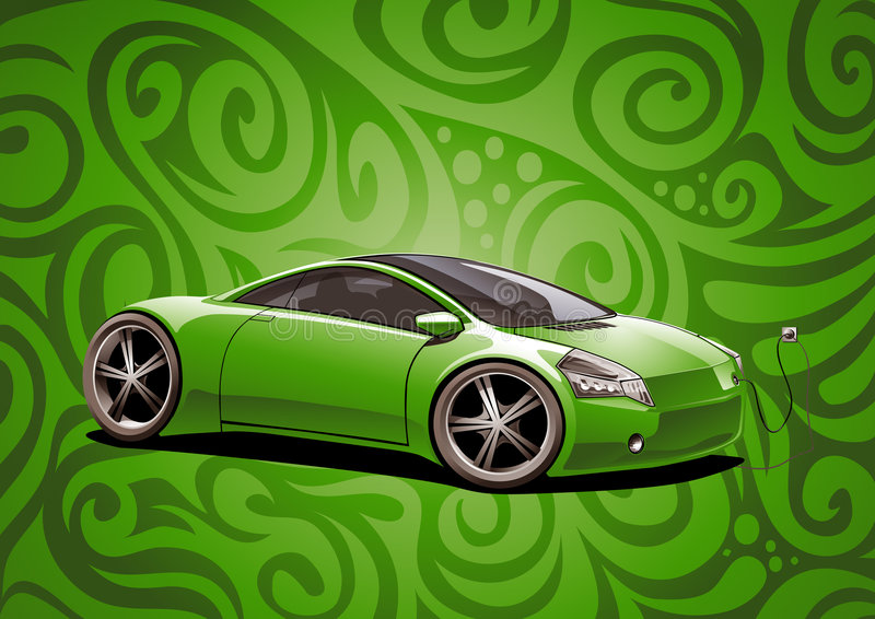 elektriskt grönt sportscar vektor illustrationer