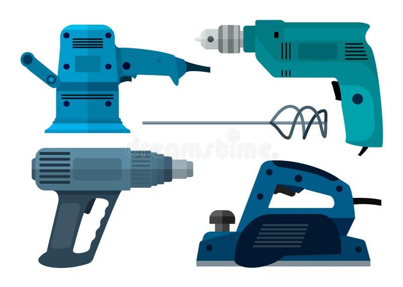 Elektriskt hjälpmedel för byggande- och reparationsdrillborrlägenhet vektor illustrationer