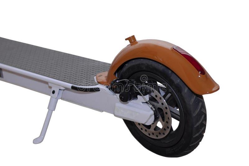 Elektriskt isolerat vitt för sparkcykel Sparkcykel för bakre hjul med diskettbromsen Orange vinge med ett rött stopp royaltyfri bild
