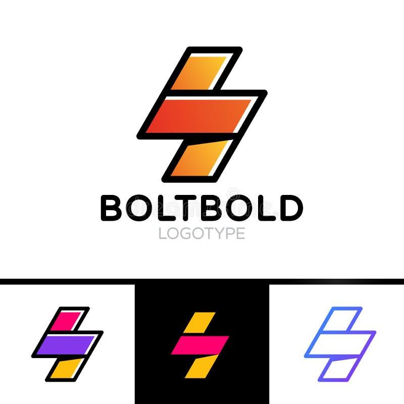 Elektriskt logobegrepp Stil för översikt för symbol för blixtbult minsta enkel Prålig teckendesignmall Energimakthastighet vektor illustrationer