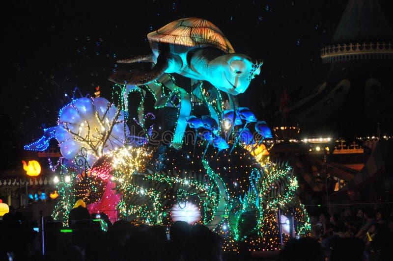 Elektriskt Tokyo Disney land ståtar. fotografering för bildbyråer