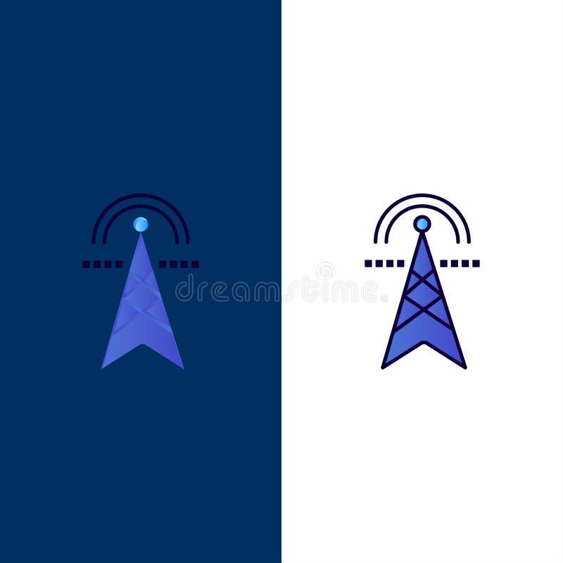 Elektriskt torn, elektricitet, makt, torn, beräknande symboler Lägenheten och linjen fylld symbol ställde in blå bakgrund för vek stock illustrationer