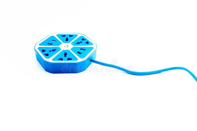 Elektriskt uttag för blå sexhörning med USB hålighetport fotografering för bildbyråer