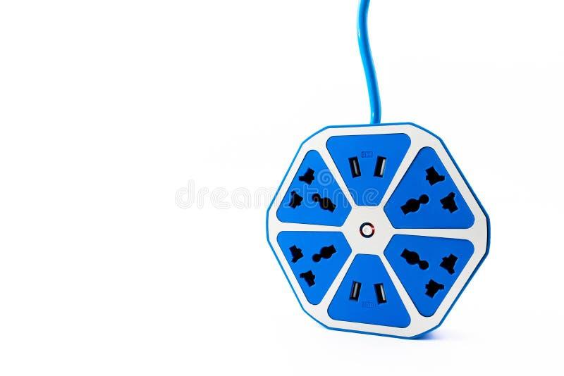 Elektriskt uttag för blå sexhörning med USB hålighetport arkivfoton