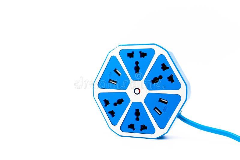 Elektriskt uttag för blå sexhörning med USB hålighetport royaltyfri fotografi