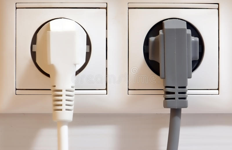 Elektro afzet en stoppen stock afbeelding
