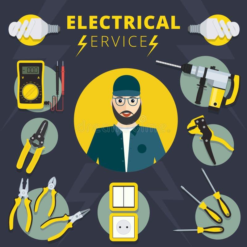 Elektro de diensten vectorconceptontwerp Elektricienbanner IL vector illustratie