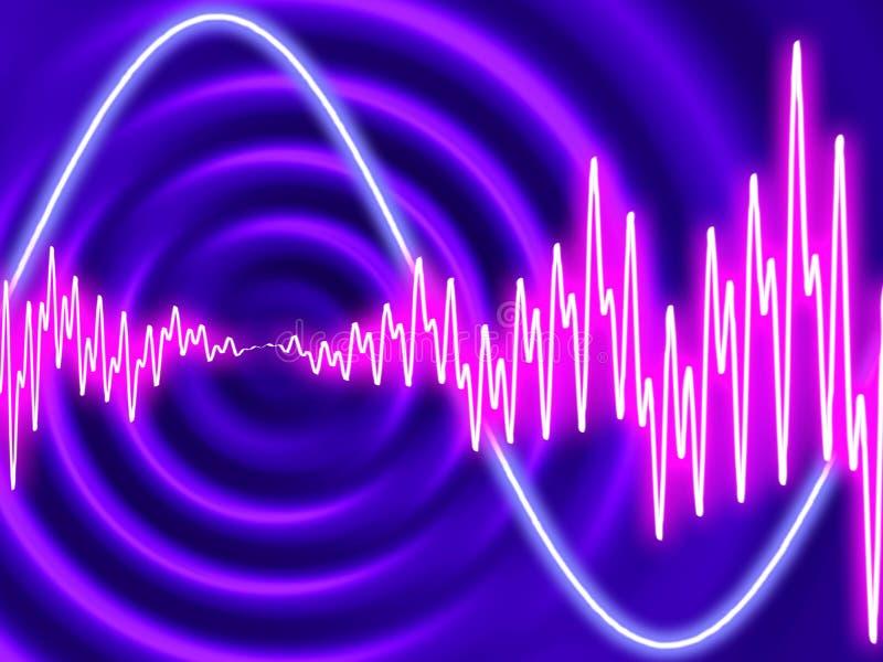 Elektro disco - Concentrische rimpelingen met golfvormen stock afbeelding