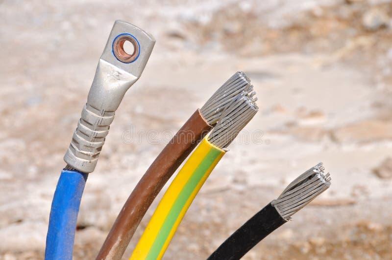 Elektro elektrische kabeldraden stock afbeeldingen