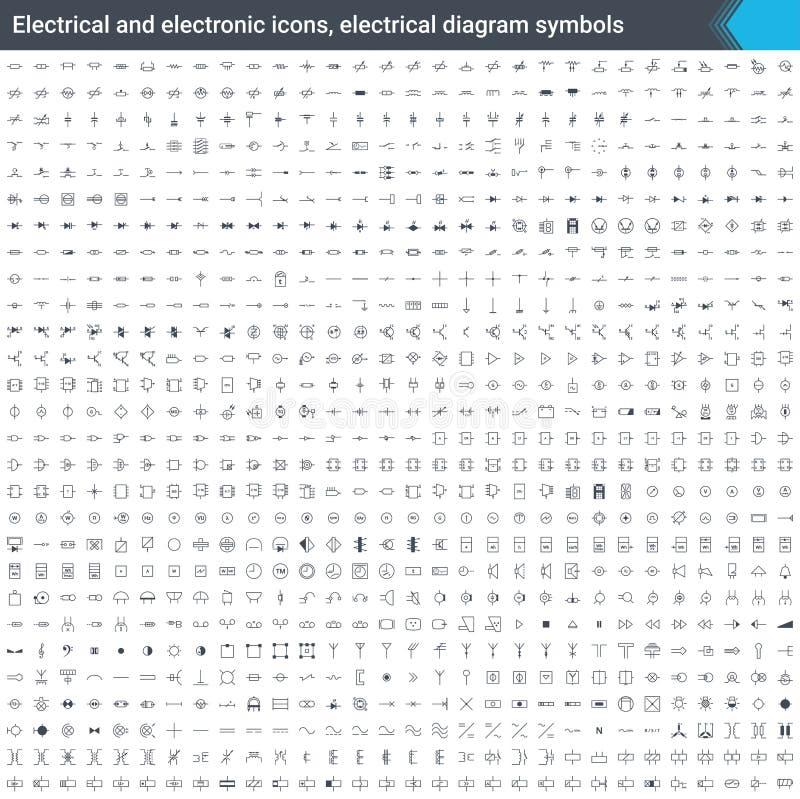 Elektro en elektronische pictogrammen, elektrodiagramsymbolen Schakelschemaelementen Stook vectordiepictogrammen op op witte back stock illustratie