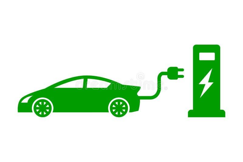 """Elektro het laden postsymbool, elektrische auto Elektrisch voertuig post het laden verkeersteken†""""vector vector illustratie"""