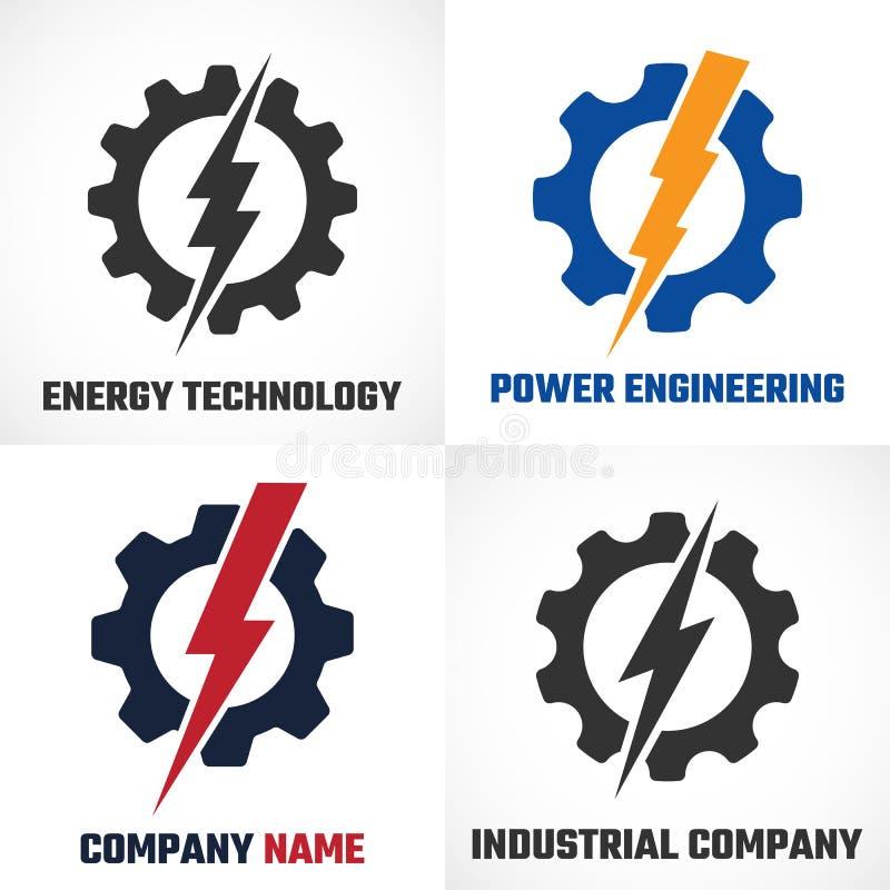 Elektro of mechanisch industrieel bedrijfembleem Bliksembout in tandrad royalty-vrije illustratie
