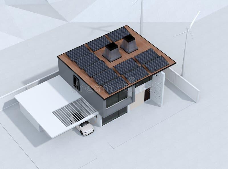 Elektro-Mobil, das in der Garage neulädt Das intelligente Haus angetrieben durch Sonnenkollektoren und Windkraftanlage vektor abbildung