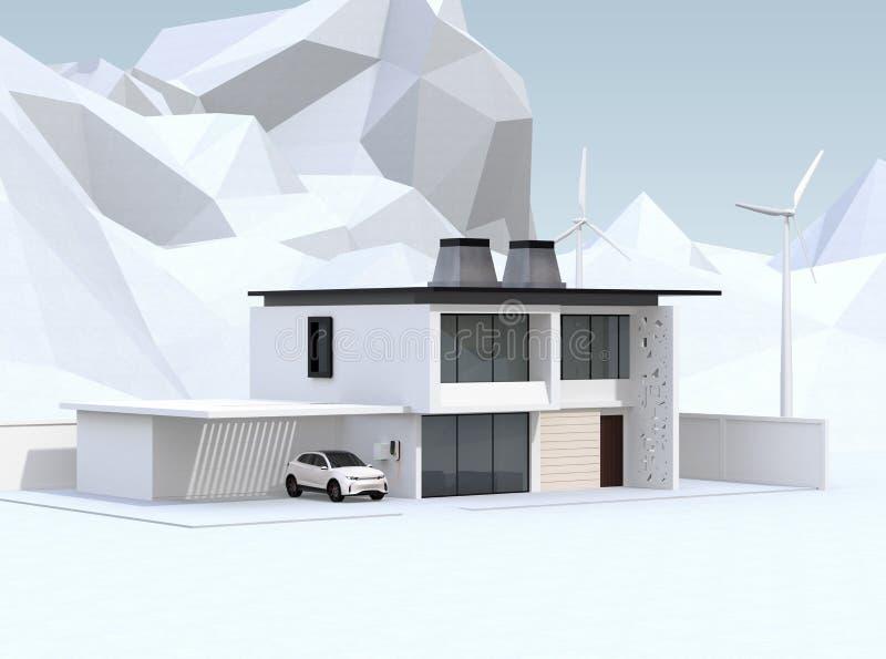 Elektro-Mobil, das in der Garage neulädt Das intelligente Haus angetrieben durch Sonnenkollektoren, Windkraftanlage und wiederver stock abbildung