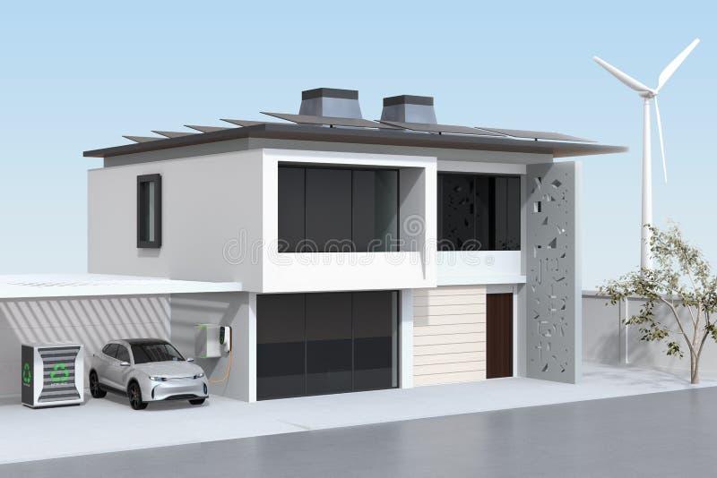 Elektro-Mobil, das in der Garage neulädt Das intelligente Haus angetrieben durch Sonnenkollektoren, Windkraftanlage und wiederver lizenzfreie abbildung