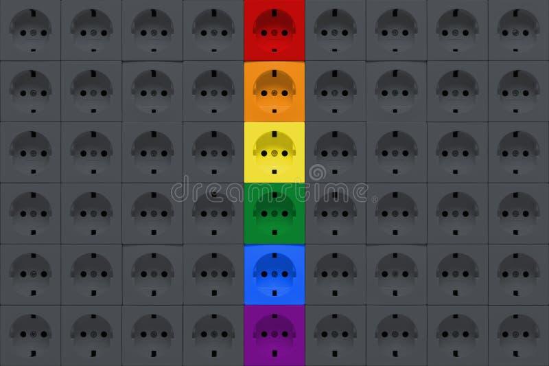 Elektroafzetcontactdozen van grijze en regenboogkleuren royalty-vrije stock foto