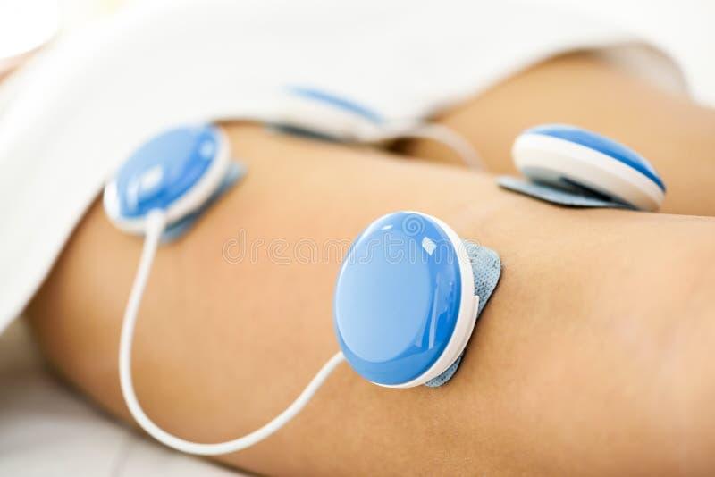 Elektroanregung in der Physiotherapie zu einem Bein der jungen Frau lizenzfreie stockfotografie