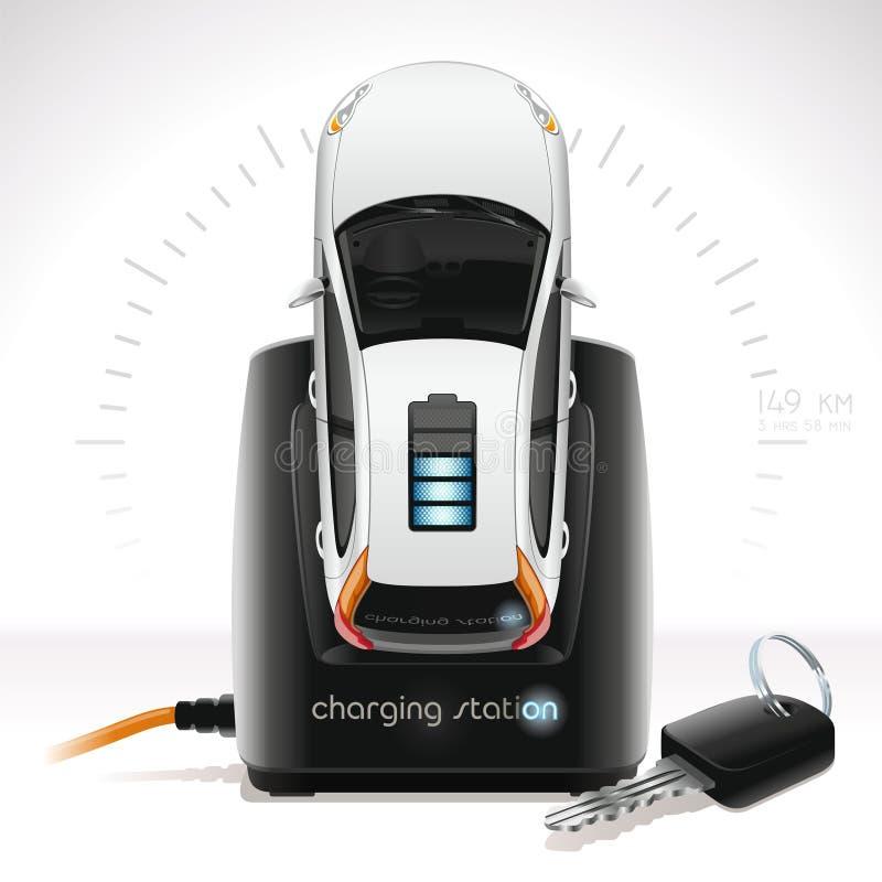Elektroauto bij de Post van Herladen vector illustratie