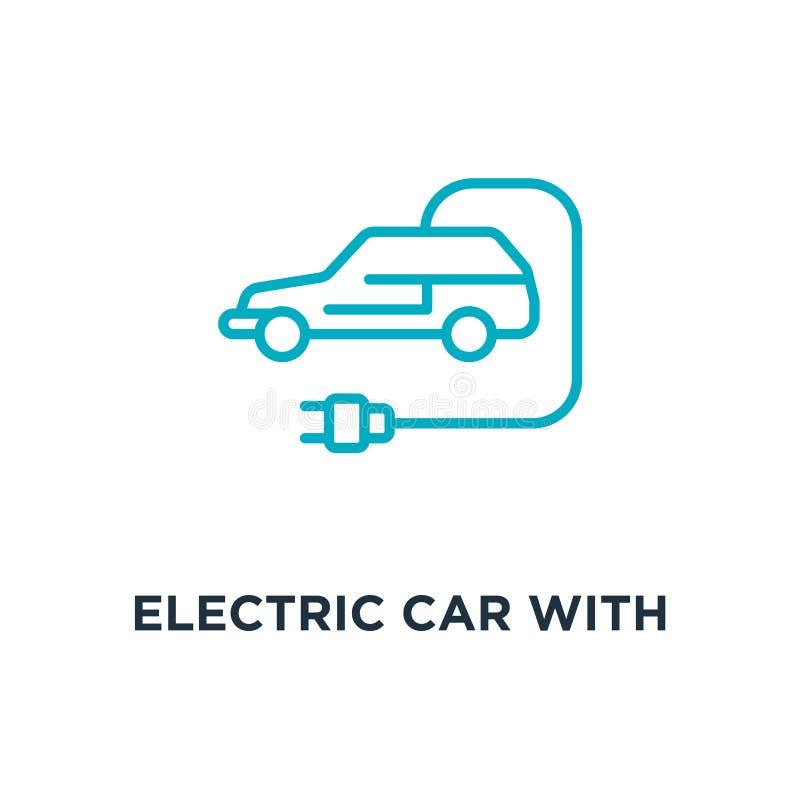 Elektroauto mit Steckerikone Elektroauto mit Steckerkonzept symb lizenzfreie abbildung