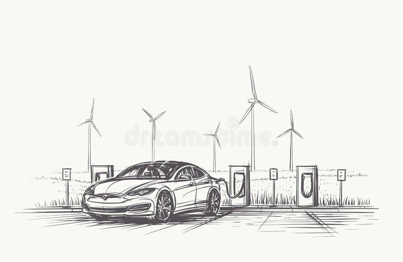 Elektroautoaufladungshandgezeichnete Illustration Vektor, eps10 lizenzfreie stockfotos