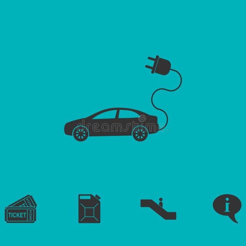 Elektroautoikone flach stock abbildung