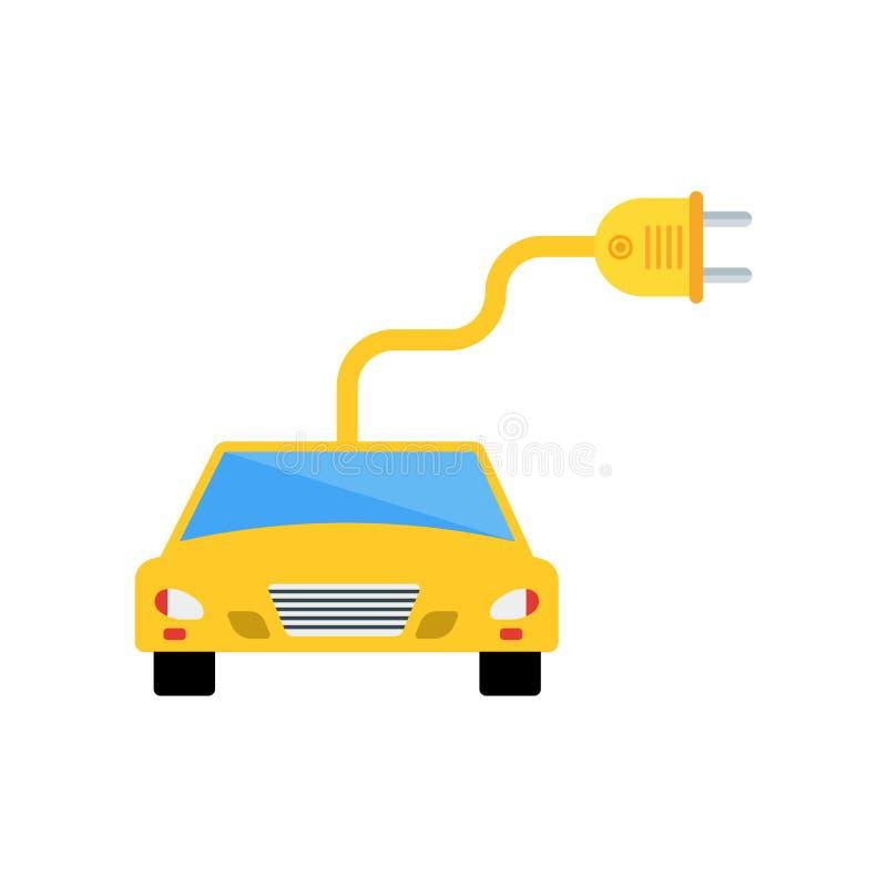 Elektroautoikonenvektorzeichen und -symbol lokalisiert auf weißem backgr stock abbildung