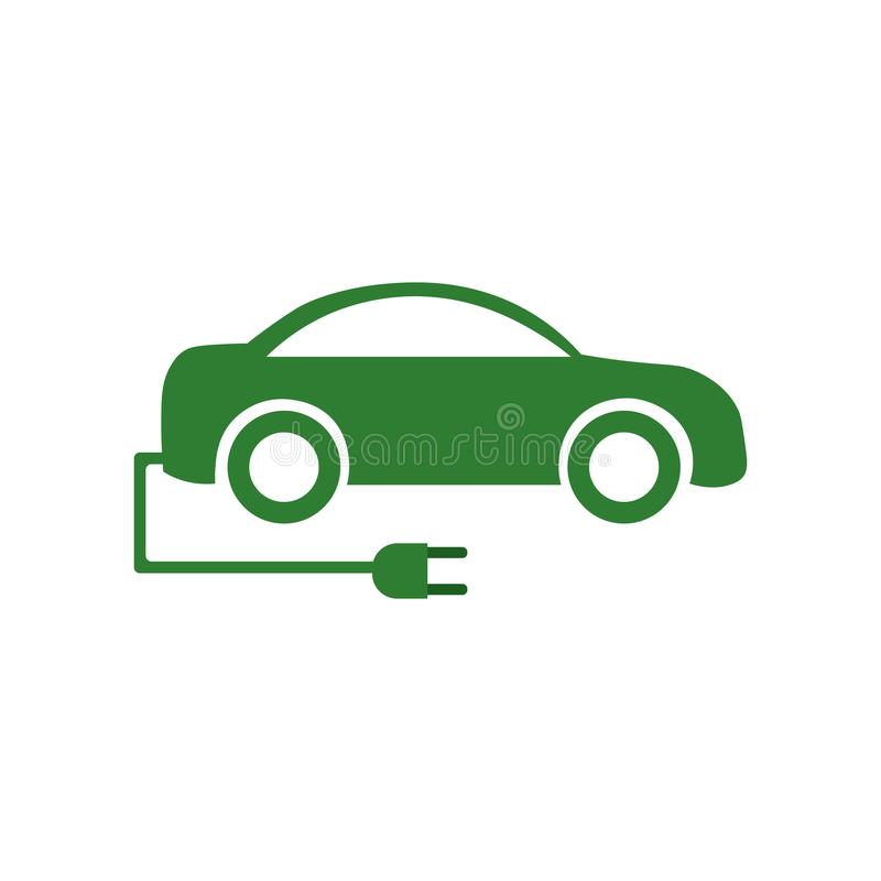 Elektroautoikonenvektorzeichen und -symbol lokalisiert auf weißem Hintergrund, Elektroautologokonzept lizenzfreie abbildung