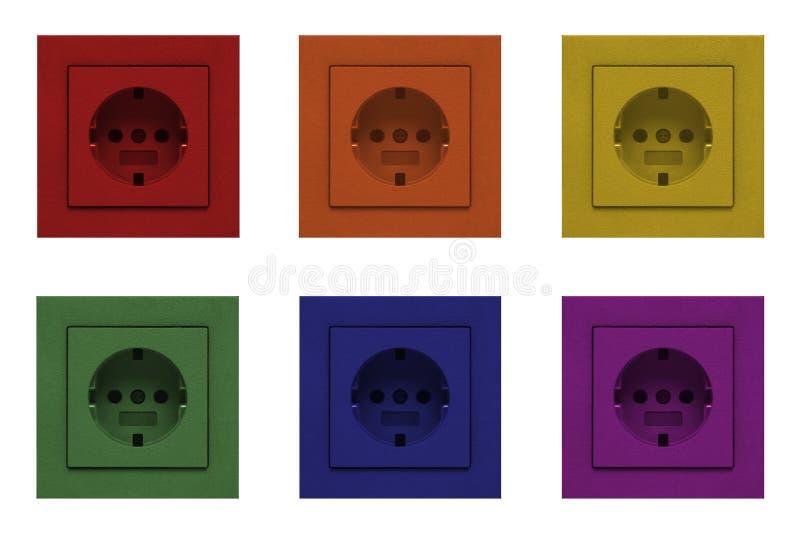 Elektrocontactdoosafzet in regenboogkleuren stock afbeeldingen