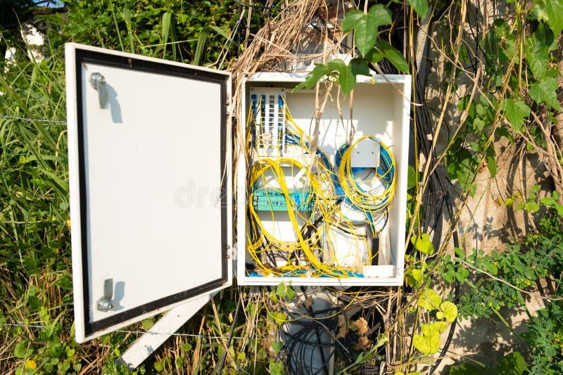Elektrodraad en kabel die verwarring van elektriciteit installeren op een boom in Pattaya, Thailand, Azië stock afbeeldingen
