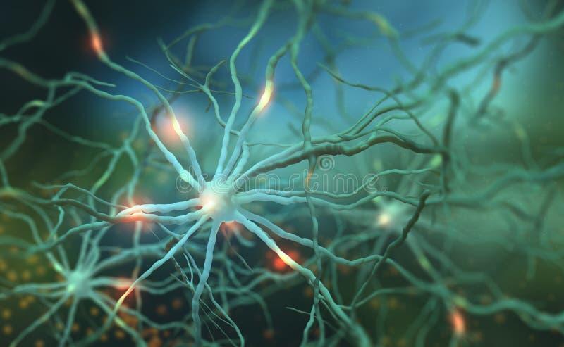 Elektroimpulsen in de menselijke hersenen stock illustratie