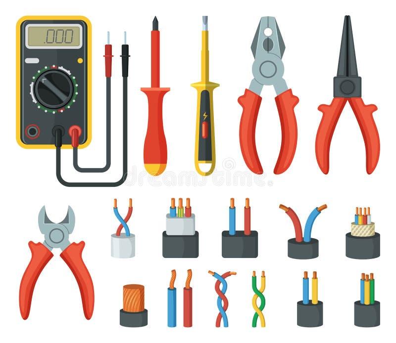 Elektrokabeldraden en verschillende elektronische hulpmiddelen Snijder, multimeter Vector geïsoleerde illustraties vector illustratie