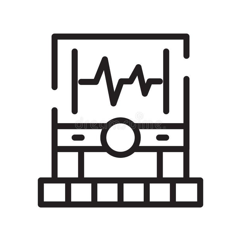 Elektrokardiogram ikony wektor odizolowywający na białym tle, Elec ilustracji