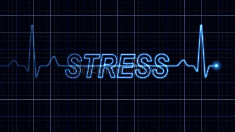 Elektrokardiogram z stresu słowem ilustracji