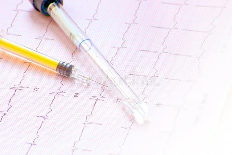 Download Elektrokardiogram Z Strzykawką I Butelką Zdjęcie Stock - Obraz złożonej z antybiotyk, zbliżenie: 28971474