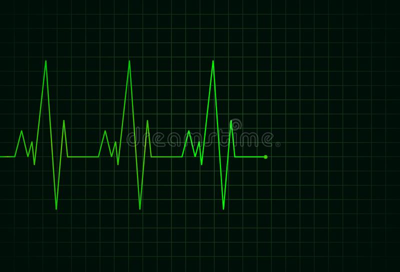 Elektrokardiogram zielona lina ilustracja wektor