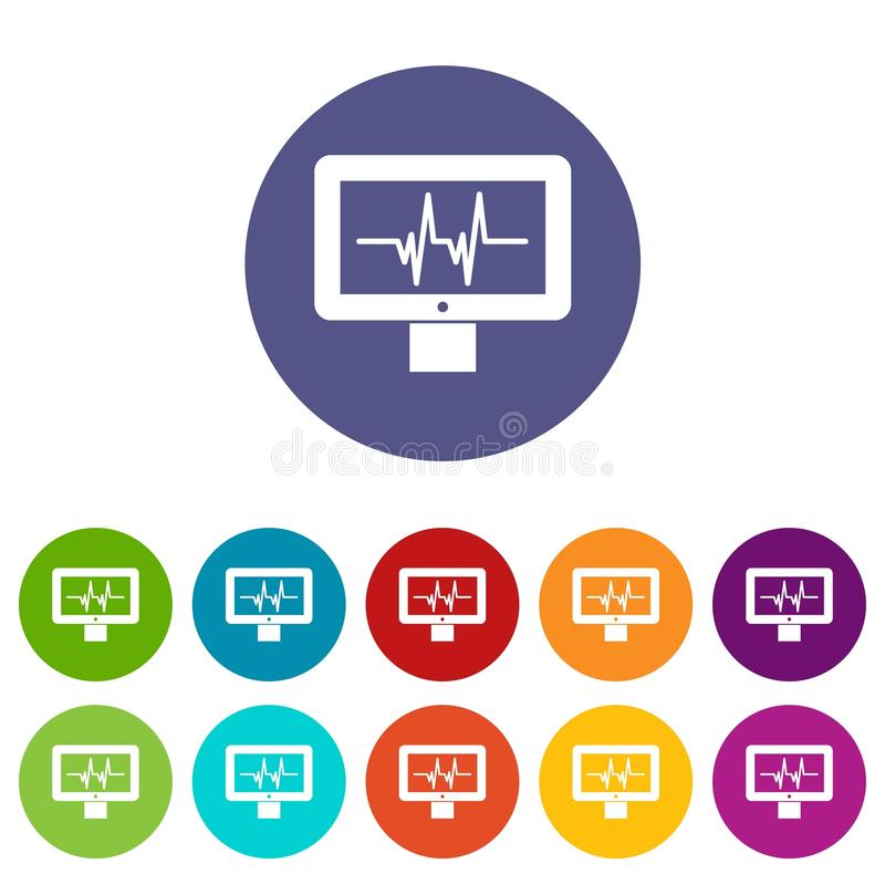 Elektrokardiograma monitoru ustalone ikony ilustracja wektor
