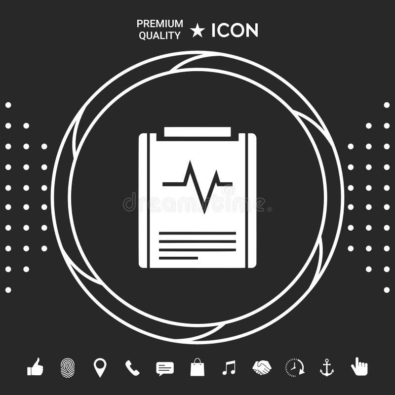 Elektrokardiograma symbolu ikona ilustracja wektor