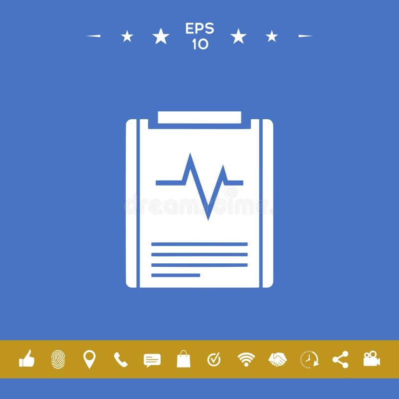 Elektrokardiograma symbolu ikona royalty ilustracja